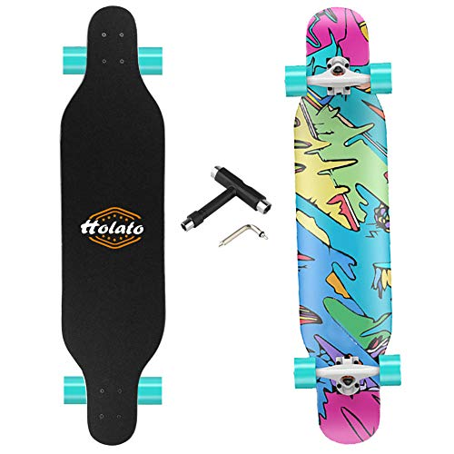 HOLATO Longboard Skateboard,Canadian Maple Drop Through Freestyle Longboard Skateboard for Cruising, Carving, Free-Style, Downhill and Dancing,Freeride Skateboard Longboard for Adults, Teens