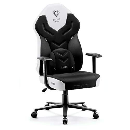 Diablo X-Gamer 2.0 Silla Gaming Gamer de Oficina Tela Diseño Ergonómico Cojín Lumbar Apoyabrazos Cómodos (Negro-Blanco)