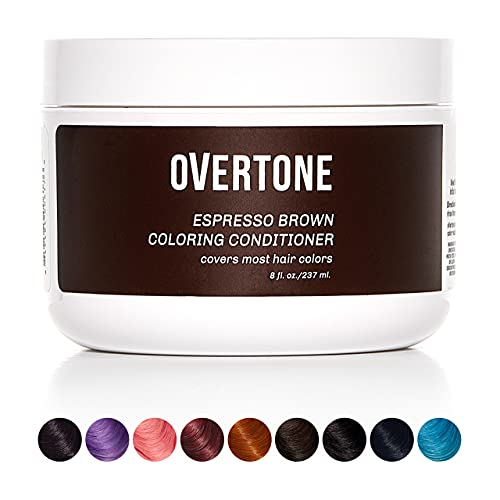 oVertone Haircare Espresso Brown Coloring Conditioner | Gentle Semi-Permanent Hair Color with Shea Butter & Coconut Oil | Safe for All Hair Types | Vegan, Cruelty-Free