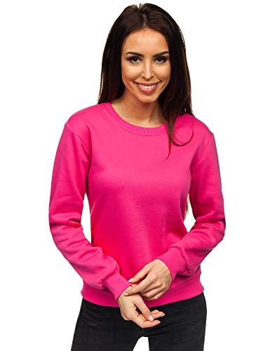 BOLF Damen Sweatshirt Pullover ohne Kapuze Basic Langarmshirt Top Baumwollmischung Pulli Rundhals-Ausschnitt Sweater Farbvarianten Sportlich Fitness J.Style W01 Fuchsia M [A1A]