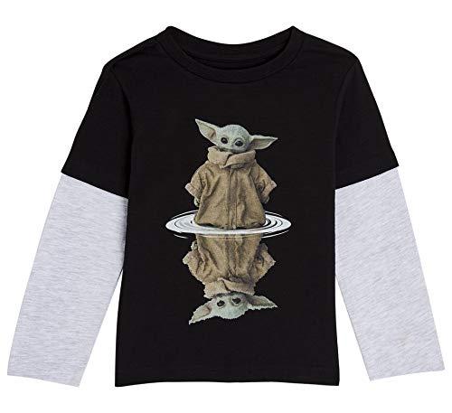Star Wars Camiseta Niño, Camisetas Niño de Manga Larga Gris y Negra, con Baby Yoda The Mandalorian The Child, Ropa Niño, Regalos Niños