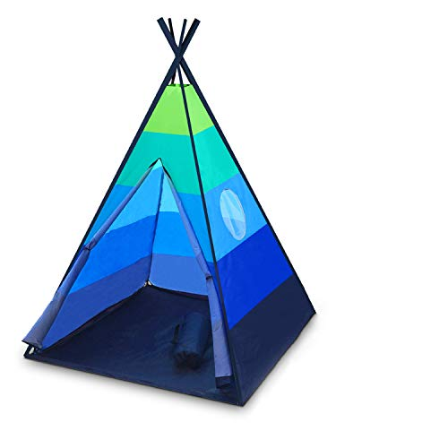 USA Toyz Happy Hut Teepee Tent for Kids - Indoor Pop Up Teepee Kids Playhouse Tent for Boys and Girls with Included Flashlight Projector Toy and Portable Play Tent Storage Bag (Blue)