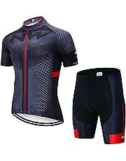 Heren Fietsshirt Set Korte Mouwen Full Zip Vochtafvoerend Ademend Sneldrogend Fietsen MTB Kleding 3D Gewatteerde Shorts