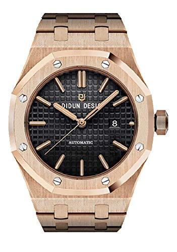Sportlich Elegante Herren Automatik Uhr, Saphirglas, massives Armband, Miyota Uhrwerk, Didun Royal One Gold/Schwarz