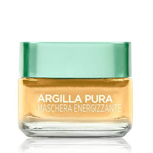 L'Oréal Paris Detergenza Maschera per il Viso Argilla Pura Energizzante con Limone di Yuzu, Uniforma e Illumina la Pelle, 50 ml, Confezione Singola