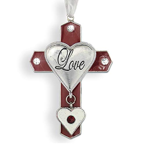 BANBERRY DESIGNS Love Cross Red and White Enamel and a Hanging Heart Charm - Love Ornament for Her