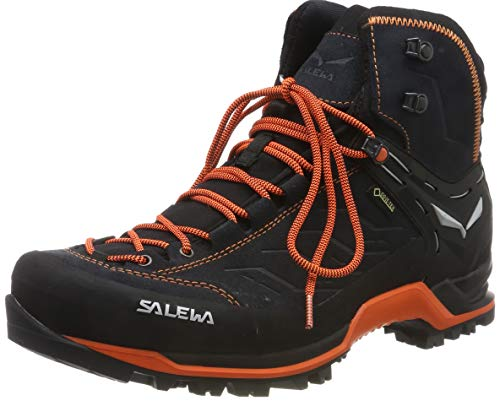 Salewa Herren MS Mountain Trainer Mid Gore-TEX Trekking-& Wanderstiefel, Asphalt/Fluo Orange, 45 EU