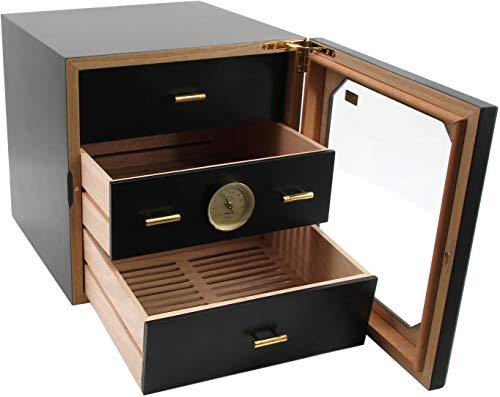 ADORINI Humidor Chianti armadietto medio per sigari, in cedro spagnolo - con igrometro a capello, nero.