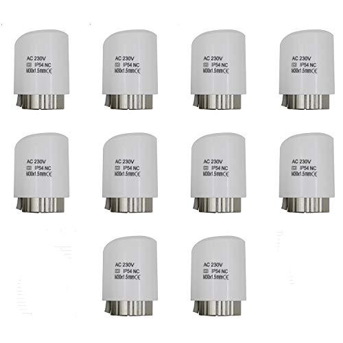 1 10 20 piezas - actuador electrotermico per colector calefaccion multicapa distribuidor suelo radiante (230v Normalmente cerrado, 10 piezas)
