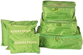Six-Piece Pouch Travel Luggage Organiser Set, Green