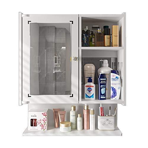 Badezimmerspiegelschrank Waschtischunterschrank Toilettenschrank Wandmontage mit Spiegel Lochfreies Regal (Color : Weiß, Size : 48 * 17 * 58cm)