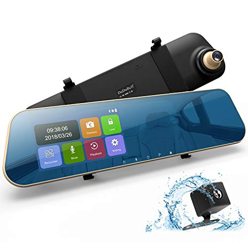 "Mirror Dash Cam, DuDuBell 4.3"" Car Dash Camera Touch Screen 1080P 290° Wide Angle Backup Camera, Dual Dashboard Recorder with 6G Enhanced Night Vision, HDR"