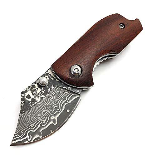 AUBEY Taschenmesser Klein Mini Messer EDC Klappmesser Holzgriff Angelmesser Scharf Holz Schlüsselanhänger Pocket Knife Outdoor (Braun-04)