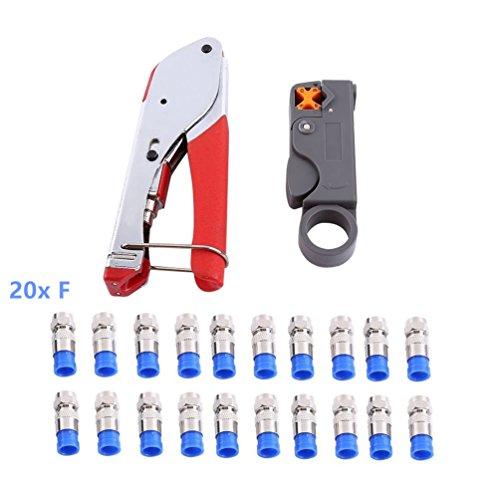 Preisvergleich Produktbild Kompressionszange, Colomba Stecker Werkzeug Koax-Kabel Stripper RG59 / RG6 Crimper Koaxialkabel mit 20 stück Kompressions-F-Stecker für SAT Kabel