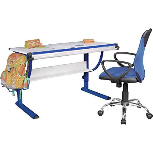 FineBuy Design Kinderschreibtisch Mikey Holz 120 x 60 cm blau/weiß | Jungen-Schülerschreibtisch neigungs-verstellbar | Schreibtisch Kinder höhenverstellbar