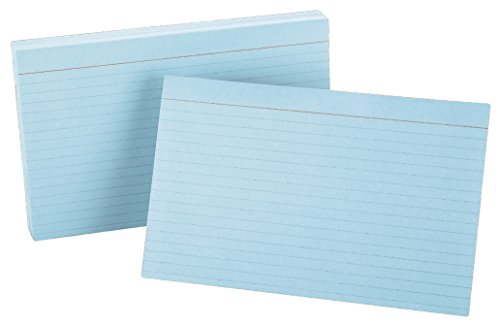 "Oxford Ruled Color Index Cards, 5"" x 8"", Blue, 100 Per Pack (7521 BLU)"