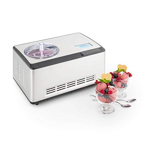 Klarstein Dolce Bacio Premium Edition - Máquina para hacer helados, sorbetes y yogures, Heladera compresión, Fabrica 2 litros de helado/hora, Pantalla LCD táctil, Temporizador, Acero inoxidabl