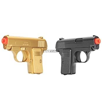 bbtac gold and black dual 618 airsoft sub-compact pocket pistols 110 fps spring concealable gun with storage case Airsoft Gun