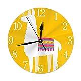 Zseeda Fondo Amarillo Llama Reloj de Pared Redondo Silencioso Sin tictac Funciona con Pilas Fácil de Leer para el Arte del...