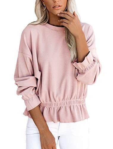 Pink Women Shirts Puff Bell Sleeve Ruffle Hem Pullover Sweatshirts Waffle Knit Elastic Waist Tops Lotus Pink XL