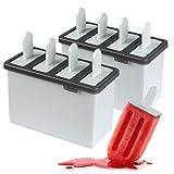 Set di 8 stampi per ghiaccioli riutilizzabili per ghiaccioli, con vassoio in piedi e bastoncini riutilizzabili, per ghiaccioli fai da te, resistenti e lavabili in lavastoviglie (grigio)