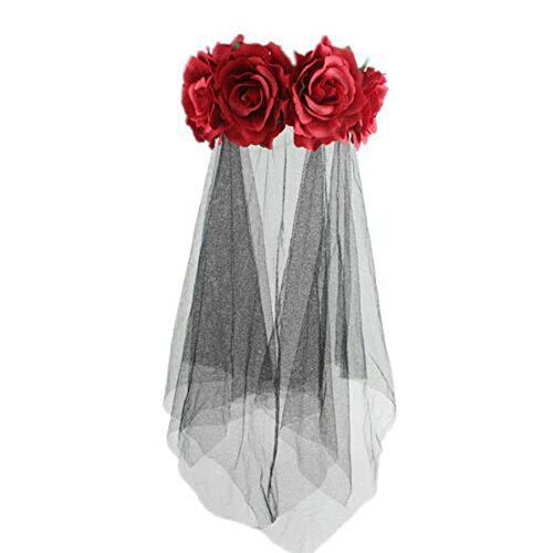 chaochao Accesorios para Cabello de Halloween Velo Novia Negro Diadema Floral de Fiesta Corona Floral Disfraz de Halloween Tocado Mexicano para Mujer Niña (Rojo, 13 * 12 cm)