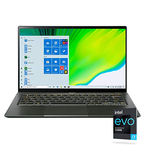Acer Swift 5 Intel Evo Thin & Light Laptop, 14″ Full HD Touch, Intel Core i7-1165G7, Intel Iris Xe Graphics, 16GB LPDDR4X, 1TB NVMe SSD, Wi-Fi 6, FPR, Back-lit KB, Antimicrobial, SF514-55TA-74EC