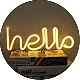 LED Hello Neon Sign Neon Letters Light Wall Decor for Baby Room Wedding Party Supplies (Warm White)