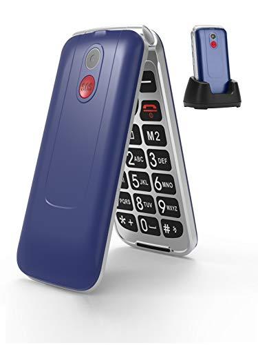 3G Seniorenhandy ohne Vertrag, Großtasten klapphandy tastenhandy,Rentner Handy mit Tasten Notruffunktion,Dual-SIM 2.8 Zoll Display (Blau)