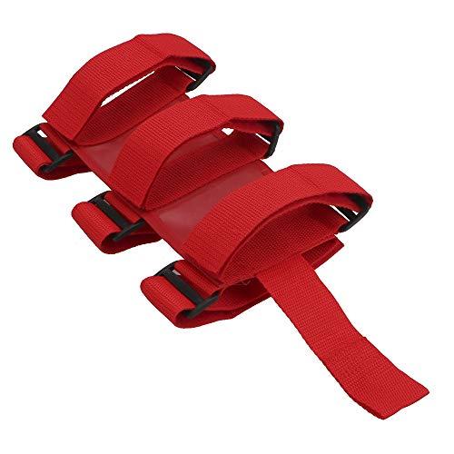 NOPNOG Auto-Feuerlöscher-Befestigungsgurt, Verschiedene Feste Gurte, Feuerlöscher-Rollenhalter, Verstellbar, für Jeep Wrangler TJ JK JL 97-18 (Rot)