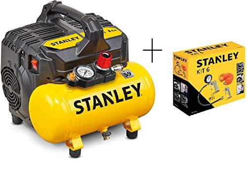 STANLEY DST 100/8/6 - Compressore Silenzioso (59dB) + KIT 6 STANLEY