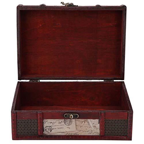 Caja de almacenamiento de joyería de madera portátil de almacenamiento de joyería vintage duradero almacenamiento para mujeres regalo decoración baratijas (sello)