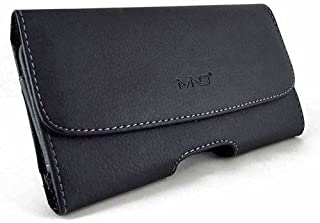 MND Horizontal Leather Carrying Case Pouch Holster for LG G4,G5, with Magnetic Closure, Belt Clip and Belt Loops (Plus Size Will Fit Phone with a Slim Skin or Cover on)