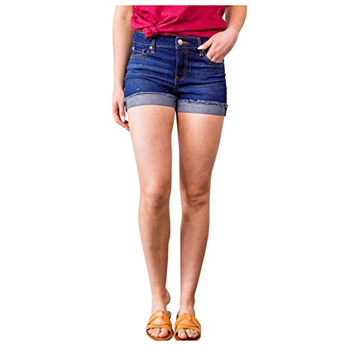 Damen Shorts mit hoher Taille Jeans Button Skinny Denim Curvy Stretch Pants