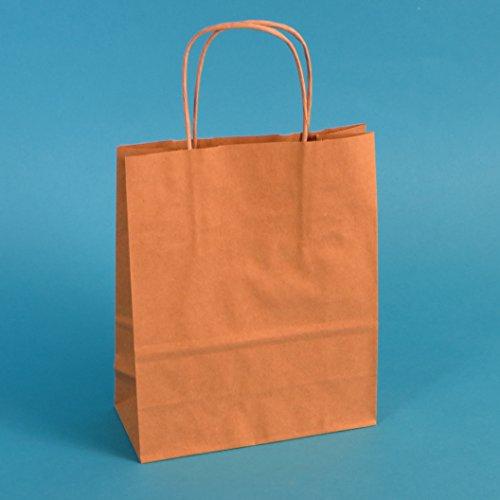 300 Papiertragetaschen 18+8x22cm mit Kordel braun Papiertüten Einkaufstüten Tragetaschen 90/m² Papier