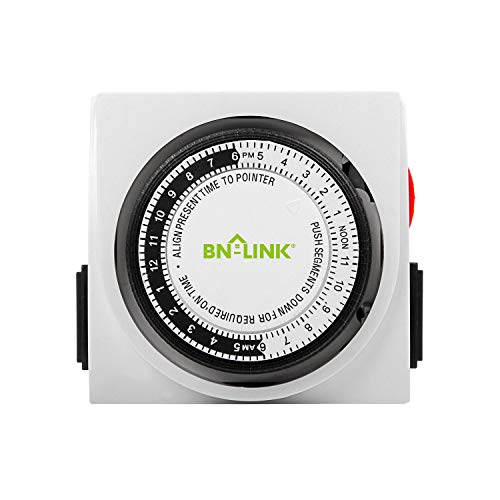 BN-LINK Heavy Duty Mechanical 24 Hour Timer Dual Outlet 3-Prong Accurate Indoor for Lamps Fans Christmas Lights White AC 1875W 1/2 HP, UL Listed