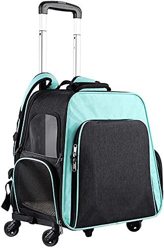 Mochila de gato de trolley ajustable, cajas de transporte escalable y de gran capacidad plegables, mochila para perros de hasta 15 kg de senderismo, ventana de celosía transpirable ( Color : Cyan )