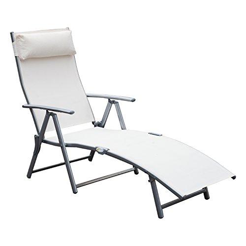 Outsunny transat Chaise Longue Bain de Soleil Pliable Dossier inclinable Multi-Positions têtière fournie 137L x 64l x 101H cm métal époxy textilène Beige
