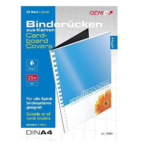 Genie 12383 25 piezas espinas/cartón-back, A4, 230 g/m² para todas las máquinas de encuadernación negro adecuado