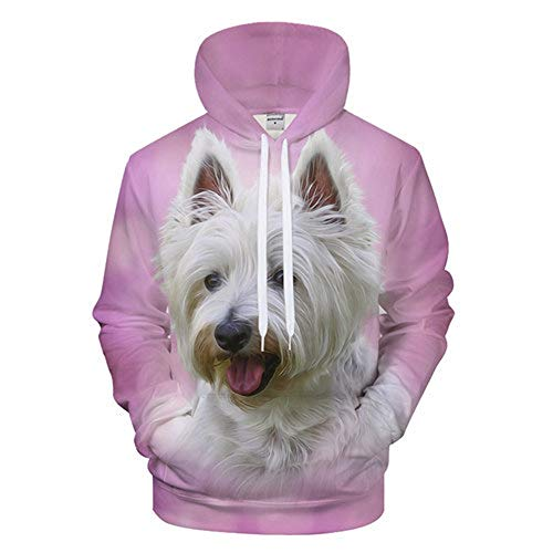HUIYIYANG Tees Unisex Pink Dog Leaf Funny Hoodies 3D Long Sleeve Hooded Casual Sweatshirts Pullover Tops for Homme Femme 533 XXXXL