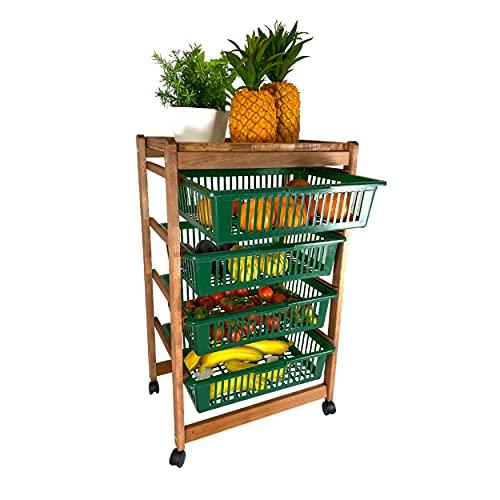 Kasalingo Carrello Porta Frutta e Verdura in Legno con Ruote Direzionali a 4 Scomparti ,Salvaspazio H83cm misure 36x30, Prodotto 100% Made in Italy (74hx44x30)