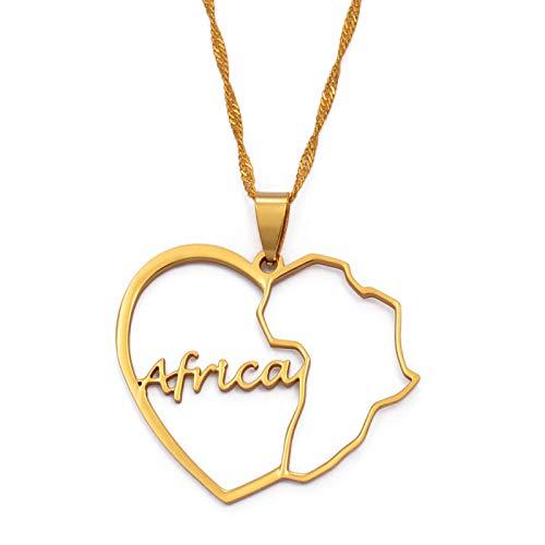 Collar De Mapa,Collar Del Mapa Para Las Mujeres Hombres Africa Mapa Colgante Collar Oro Color Colgante Encanto Novedad Hip Hop Collares De Moda Para Hombres Señoras Fiesta Joyería Regalos Patrióti