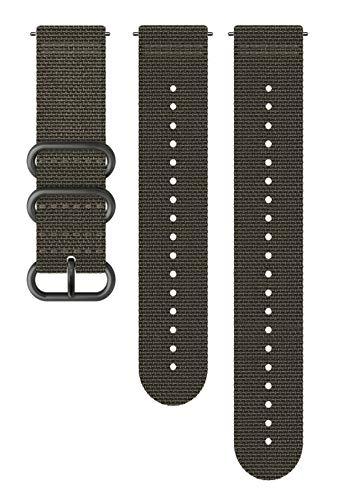 Suunto Bracelet de remplacement Original pour les Montres Suunto Spartan Sport WRH, Suunto 9, Textile, Longueur : 24,4 cm, Largeur : 24 mm, Gris/Noir, avec Broches de fixation, SS050229000
