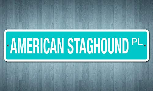 "Deerts 5093 SS American Staghound 4"" x 18"" Novelty Street Sign Aluminum 2"