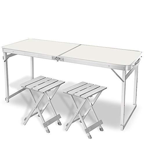 JCCOZ -T Mesa plegable portátil de pícnic con 2 sillas de aluminio con altura ajustable, mesa plegable ideal para camping al aire libre, barbacoas o fiestas T (color: blanco).