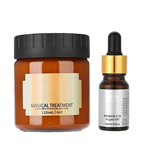 Ensemble de masque capillaire, masque de nutrition nourrissant à réparation profonde 120ML + huile d'essence capillaire 10ML, masque de réparation intense professionnel pour cheveux colorés secs