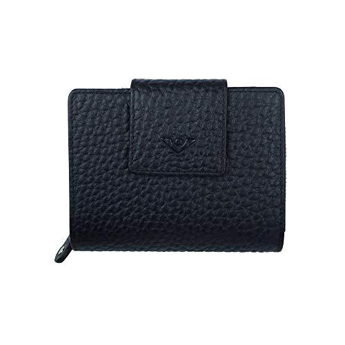 VOi Kombibörse 70216 Damen Geldbörse aus 100% genarbten Leder Portemonnaie Münzbörse Geldbeutel schwarz
