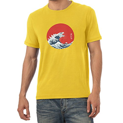 Texlab Herren Hokusai Gojira T-Shirt, Gelb, L