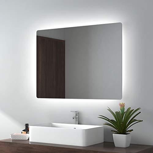 EMKE LED Badspiegel 80x60cm Badezimmerspiegel mit Beleuchtung Wandspiegel … (Typ L, 80x60cm kaltes Weiß)