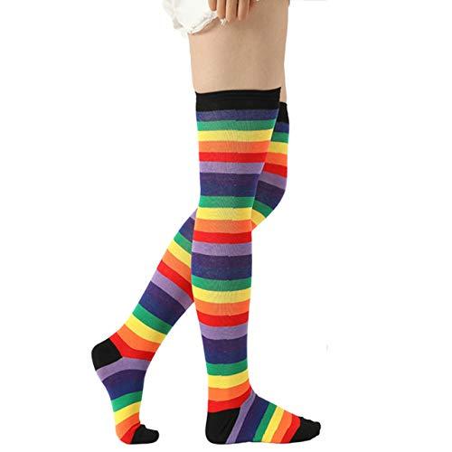 Ayliss Thigh High Socks Striped Women Rainbow Over Knee Arm Warmer Fingerless Gloves for Halloween Cosplay Party(Rainbow Set 2)